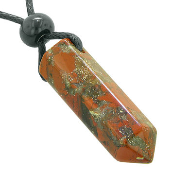 Lucky Crystal Point Pendant Necklace in Dragon Blood Gemstone