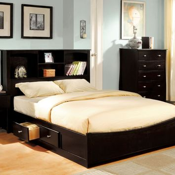 Falco Contemporary Storage Queen Bed in Espresso