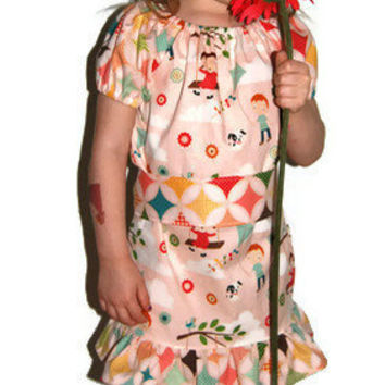 Fly A Kite Girls Peasant Dress with Optional Sash Sizes 18 months to 4T