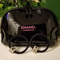 Chanel Maquilage 3 Piece Gift Set Hair Tie double zipper charm Black Makeup Bag