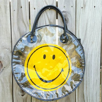90s Smiley Face Clear PVC Purse Bag