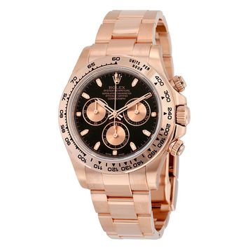 Rolex Cosmograph Daytona Black Dial 18K Everose Gold Automatic Mens Watch