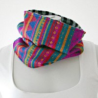 Aztec Cowl Scarf, Reversible Neckwarmer, South American fabric and silver sparkle stripe knit fabric