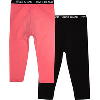 River Island Mini girls black and pink leggings 2 pack
