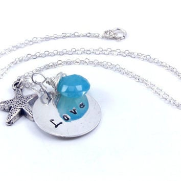 Sterling Silver LOVE Necklace with Starfish Charm and Aqua Blue Chalcedony, Summer Fashion, Resort Jewelry, Beach Necklace Starfish Necklace