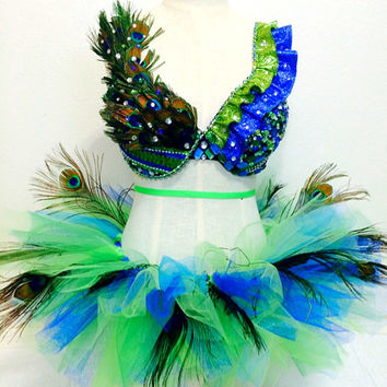 Peacock dance costume edc / tomorrowworld / ultra / rave / halloween