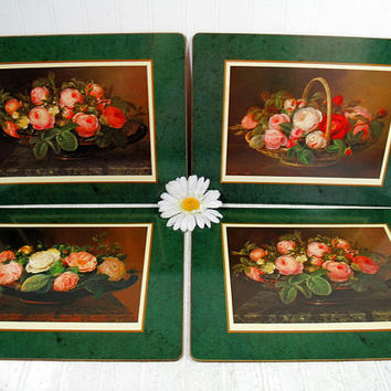Floral Still-life Roses on Dark Green Placemats Set of 4 Large Laminated Cork Board Mats by Pimpernel - Shabby Chic Cottage Decor Tableware