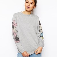 ASOS Sweatshirt with Mickey and Minnie Sleeves - Gray