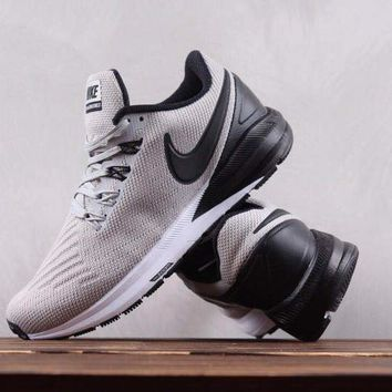 HCXX N309 Nike Air Zoom Structure 22 Flyknit Sports Shoes Grey Black