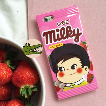 "Milky Strawberry pink cream chocolate bar sweet wrapper candy iPhone 5/5s iPhone 6 4.7"" iPhone 6 plus 5.5"" phone case"