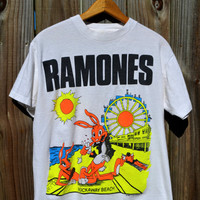 Vintage Authentic Original Ramones 1988 Rockaway Beach Genuine Tshirt Neon Rock n Roll Hey ho lets go
