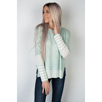 Mint and White Stripe Dolman Sleeve Sweater