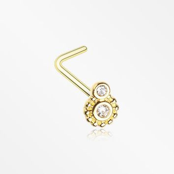 Golden Steampunk Sparkle Gear L-Shaped Nose Ring