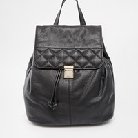 ASOS Leather Quilted Flap Backpack