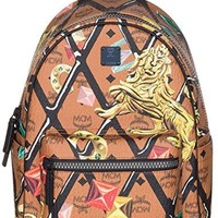 MCM Cognac Stark Motif Rombi Small Backpack Bag