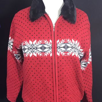 Jennifer Moore M Red 100% Zippered Sweater Cardigan Removable Faux Fur Collar