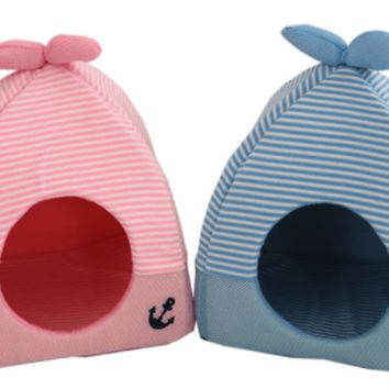 Soft and Warm Folding House Pet Bed / Pink or Blue!