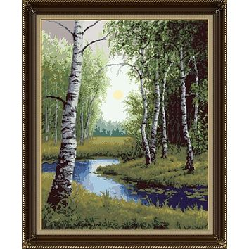 Top Quality hot selling beautiful counted cross stitch kit silver birch tree trees forest river Zolotoe Runo