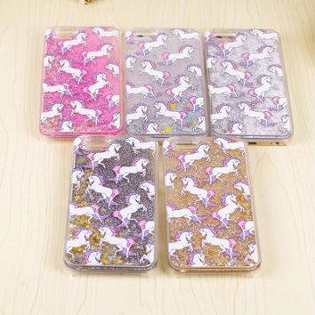 "Cartoon Unicorn Horse Dynamic Paillette Glitter Stars Water Liquid case for iPhone 5 5s SE 6 6s 4.7"" 6 plus 5.5"" plastic Covers"