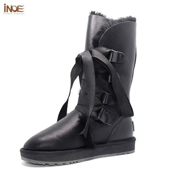 Fashion sheepskin leather sheep wool fur lined women winter snow boots for lady lace-up boots black waterproof non-slip