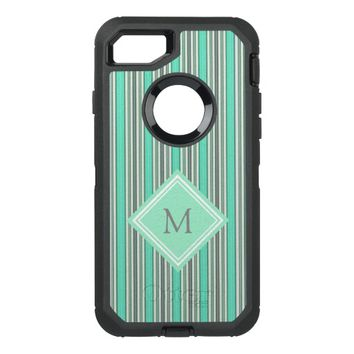 Classy Mint and Gray Vertical Stripes Monogram OtterBox Defender iPhone 7 Case