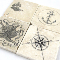 Nautical Anchor Octopus and Compass Coaster Set of Four
