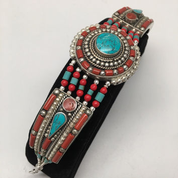 Vintage Nepalese Red Coral & Green turquoise Inlay Statement Bib Bracelet, NPB10
