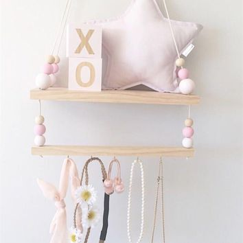 Nordic style Wooden Beads Hanging Wood Double Shelf Storage Box Rack Household Accessories Storage Holders Children's room