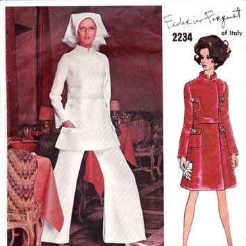 1960s Federico Forquet Coat Dress or Top & Pants Vogue Couturier Design Sewing Pattern 2234 Size 12 Bust 34 inches