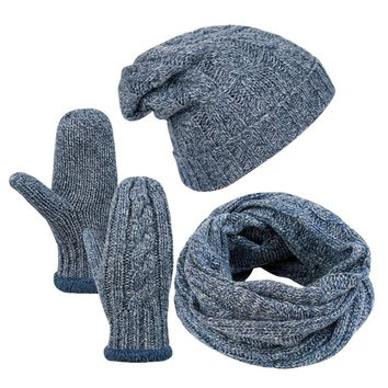 VBIGER 4pcs Men Winter Skullies Beanies Knitted Stripe Beanie Hat Scarf Gloves Set Warm Cap  Hat Set Brushed Lining