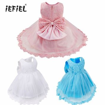 Flower Girls Dresses Children Party Ceremonies Clothing Summer Princess Infant First Communion Wedding Big Bow Birthday Dress