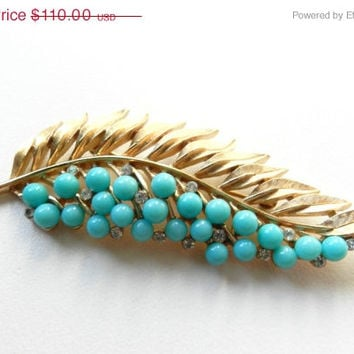 CIJ SALE Fabulous Crown Trifari Faux Turquoise and Rhinestone Gold Leaf Brooch Pin Jewelry Jewellery