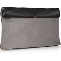 See by Chloé | Annette nubuck and textured-leather clutch | NET-A-PORTER.COM