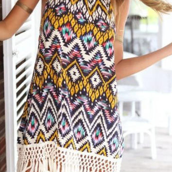 Multi Colored Geometric Print Halter Tie Bare Back Tassel Hem Dress