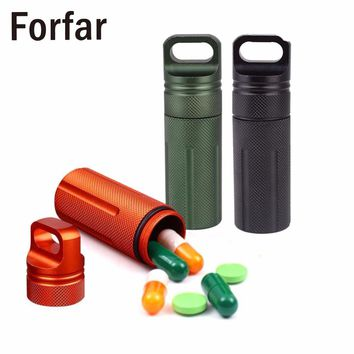 Outdoor Survival Leaktight Waterproof  Mini EDC Gadget Tablet Pill Storage Box Medicine Bottle Camping Hiking Tools
