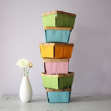 hand painted vintage rustic berry baskets by OliveSomeday on Etsy