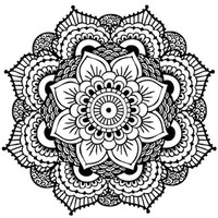 "Mandala Temporary Tattoo, Set of 2 Geometric Design Fake Tattoo Stickers, Size - 2 ¼"" x 2 ¼"""