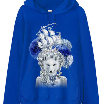 メンズフード付きパーカー【キツネ・猫・船】| Men Hoodie - Snow Fox with Epic Ship on Pouf Hair