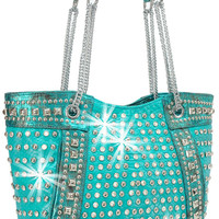 * Rhinestone and Stud Accented Metallic Fashion Tote In Turquoise