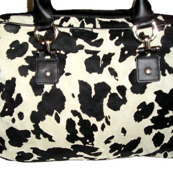 Extra Large DANIER Montreal Blue Grey Black Animal Cow Print Leather Shopper Tote- New old stock