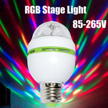E27 3W Colorful Auto Rotating RGB LED Bulb Stage Light Party Lamp Disco for home decoration lighting lamps free shipping