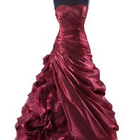 Cocomelody Ball Gown Strapless Taffeta Long Beaded Prom Dress Prpn0094