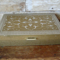 Vintage Womens Jewelry Box Gold and Silver From 50s or 60s Unique