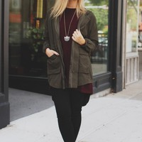 Autumn Breezes Jacket - Olive