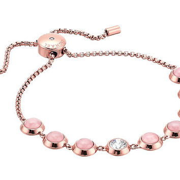 Michael Kors Tone Crystal and Rose Quartz Slider Bracelet at Zappos.com