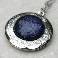 Blue Goldstone Locket  Night Sky by robinhoodcouture on Etsy