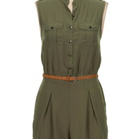 Belted button down romper