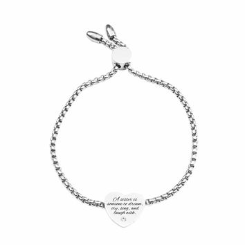 Inspirational Slider Bracelet by Pink Box - A SISTER