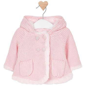 Mayoral Baby Girls' Pink Hooded Knit Long Jacket