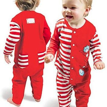 "Dr. Seuss ""Cat in the Hat"" Coverall Pajamas (6 mos, 9 mos.)"
